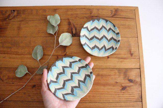丸皿 小 羽根 水色 陶器 陶芸工房ももねり。 草なぎ桃江 画像6