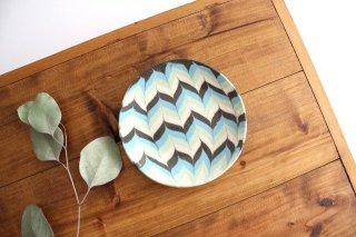 丸皿 小 羽根 水色 陶器 陶芸工房ももねり。 草なぎ桃江商品画像