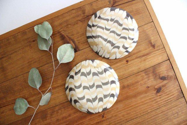 丸皿 小 波 黄色 陶器 陶芸工房ももねり。 草なぎ桃江 画像6
