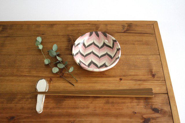 小鉢 羽根 ピンク 陶器 陶芸工房ももねり。 草�桃江 画像4