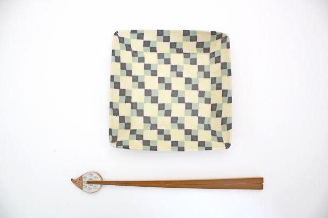 角皿 市松 グリーン 陶器 陶芸工房ももねり。 草なぎ桃江 画像6