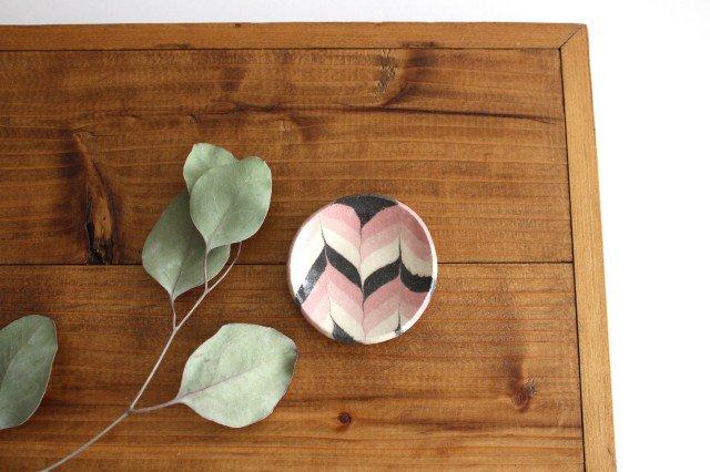豆々皿 丸 羽根 ピンク 陶器 陶芸工房ももねり。 草�桃江