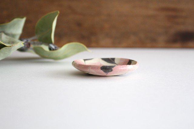豆々皿 丸 羽根 ピンク 陶器 陶芸工房ももねり。 草�桃江 画像2