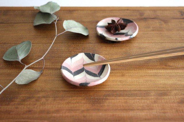 豆々皿 丸 羽根 ピンク 陶器 陶芸工房ももねり。 草�桃江 画像3