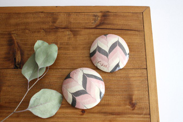 豆々皿 丸 羽根 ピンク 陶器 陶芸工房ももねり。 草なぎ桃江 画像6