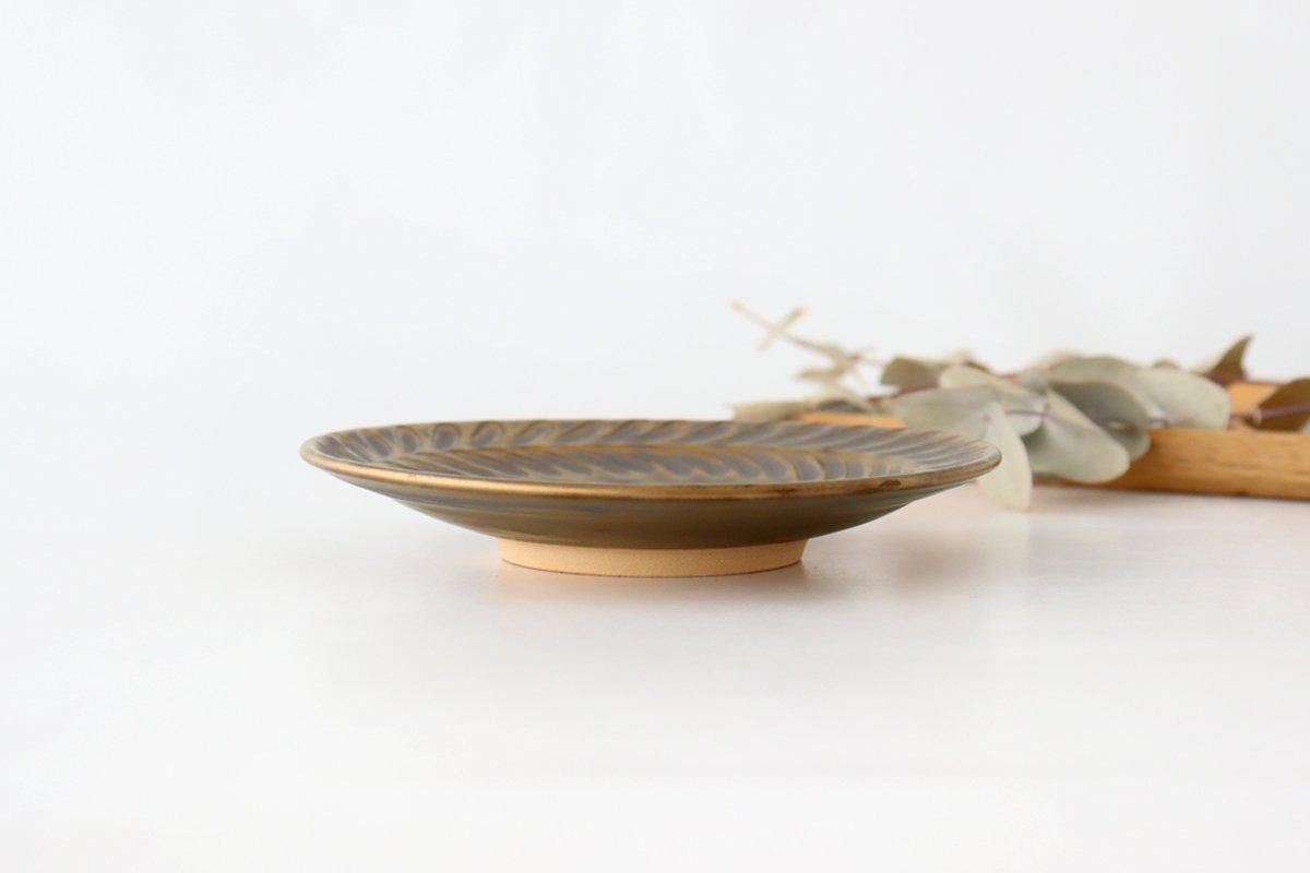 マンガン釉 5寸葉紋皿 【A】 陶器 市野耕 画像2