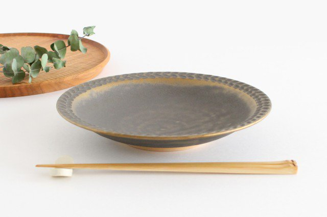 7寸葉紋皿 マンガン釉 【A】 陶器 市野耕 画像3