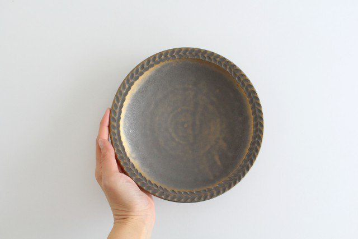 7寸葉紋皿 マンガン釉 【A】 陶器 市野耕 画像4