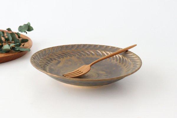 マンガン釉 7寸葉紋皿 【A】 陶器 市野耕商品画像