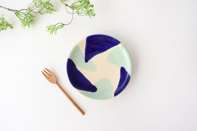 5寸皿 海 【A】 陶器 土工房 陶糸 やちむん