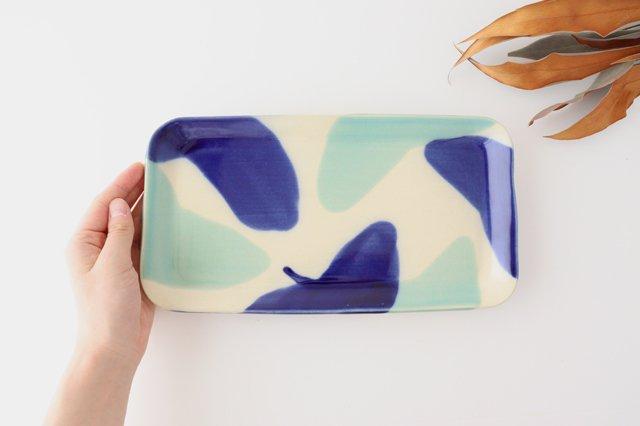 長角皿 幅広 海  【A】 陶器 土工房 陶糸 やちむん 画像2