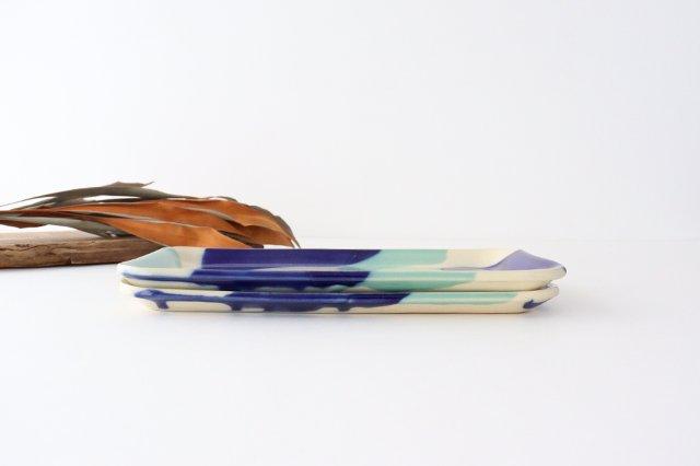 長角皿 幅広 海  【A】 陶器 土工房 陶糸 やちむん 画像5