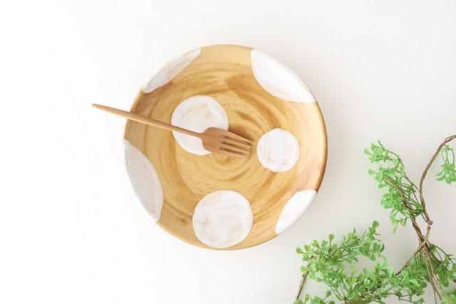 7寸皿 ドット 【B】 白 陶器 土工房 陶糸 やちむん