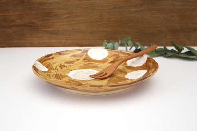 7寸皿 ドット 【B】 白 陶器 土工房 陶糸 やちむん 画像2