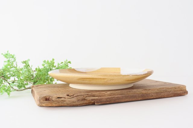 7寸皿 ドット 【B】 白 陶器 土工房 陶糸 やちむん 画像3