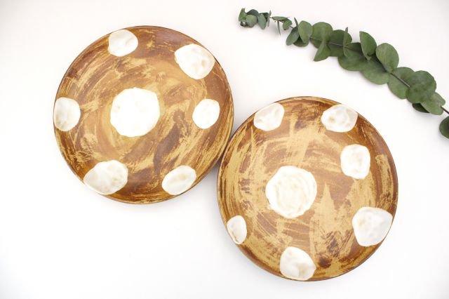 7寸皿 ドット 【B】 白 陶器 土工房 陶糸 やちむん 画像4