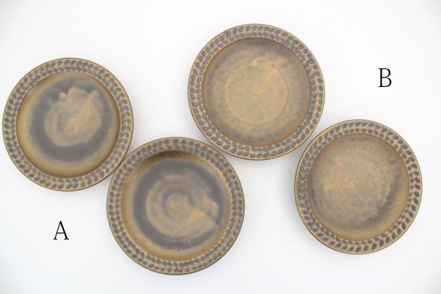 マンガン釉 5寸葉紋皿 【B】 陶器 市野耕