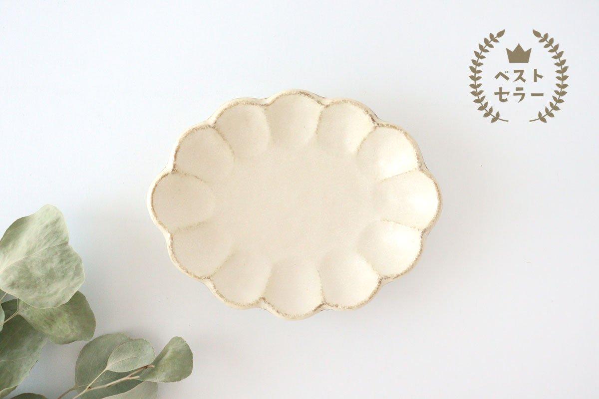 美濃焼 菊花 楕円皿 白 磁器