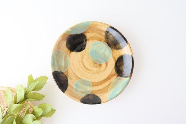 7寸皿 ドット グリーン 陶器 土工房 陶糸 やちむん