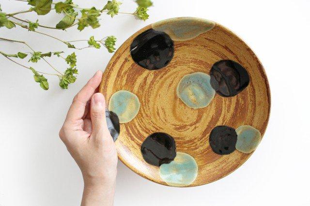 7寸皿 ドット グリーン 陶器 土工房 陶糸 やちむん 画像4