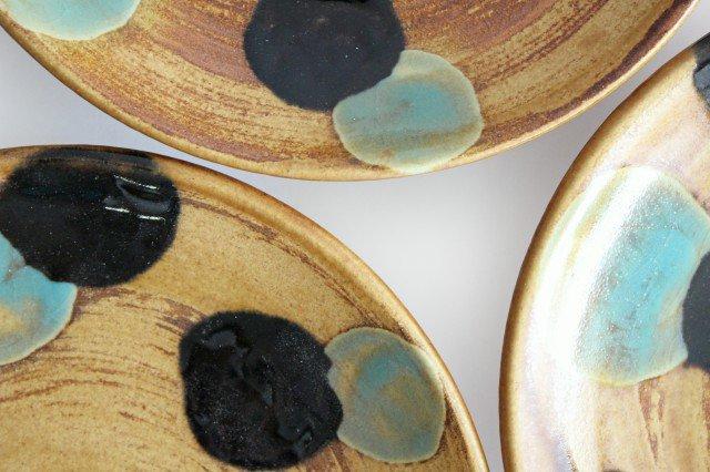 7寸皿 ドット グリーン 陶器 土工房 陶糸 やちむん 画像6