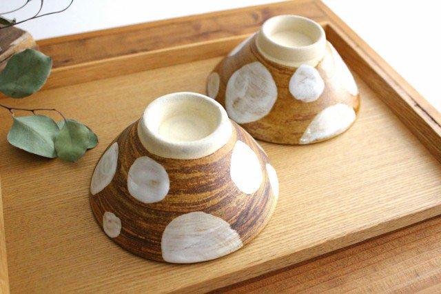 4寸マカイ ドット 白 陶器 土工房 陶糸 やちむん 画像2