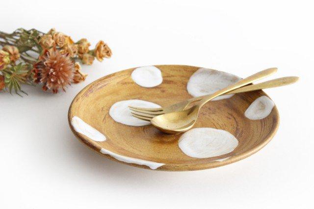 7寸皿 ドット 【A】 白 陶器 土工房 陶糸 やちむん