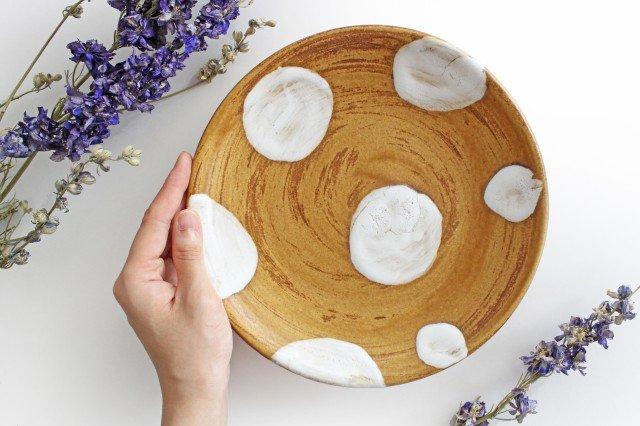 7寸皿 ドット 【A】 白 陶器 土工房 陶糸 やちむん 画像3