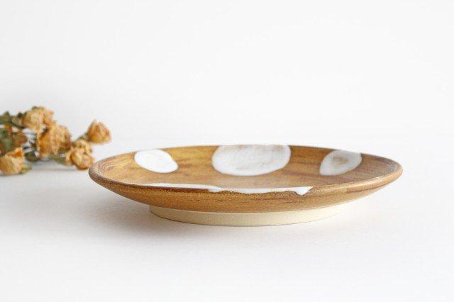 7寸皿 ドット 【A】 白 陶器 土工房 陶糸 やちむん 画像4