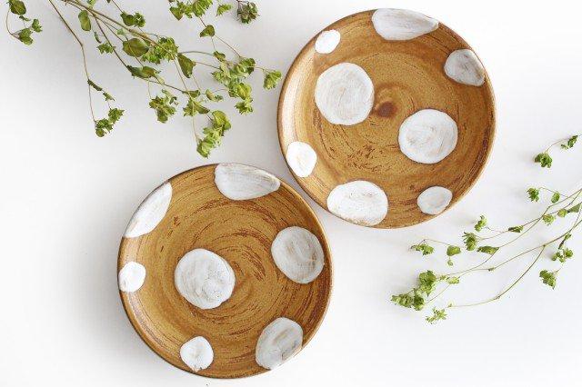 7寸皿 ドット 【A】 白 陶器 土工房 陶糸 やちむん 画像6