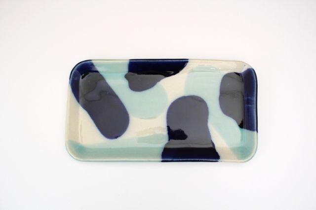 長角皿 幅広 海 【B-1】 陶器 土工房 陶糸 やちむん 画像2