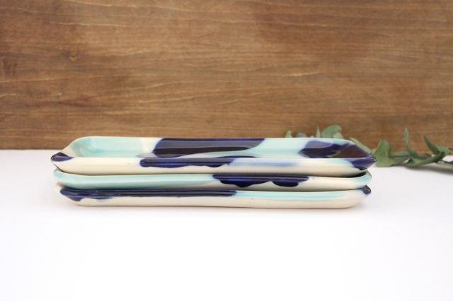長角皿 幅広 海 【B-1】 陶器 土工房 陶糸 やちむん 画像4