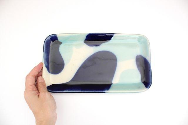 長角皿 幅広 海 【B-1】 陶器 土工房 陶糸 やちむん 画像5
