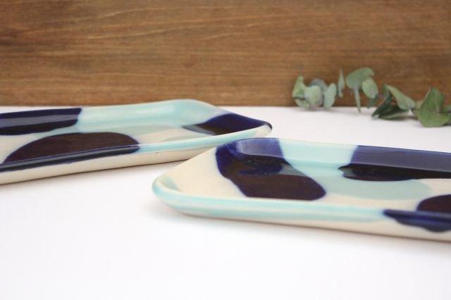 長角皿 幅広 海 【B-1】 陶器 土工房 陶糸 やちむん 画像6