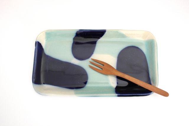 長角皿 幅広 海 【B-2】 陶器 土工房 陶糸 やちむん