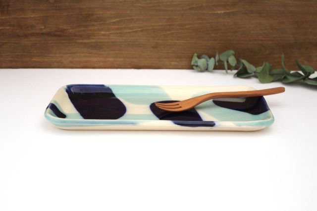 長角皿 幅広 海 【B-2】 陶器 土工房 陶糸 やちむん 画像2