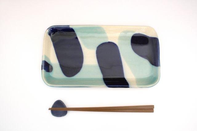 長角皿 幅広 海 【B-2】 陶器 土工房 陶糸 やちむん 画像4