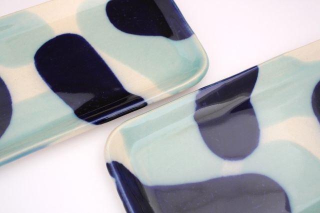 長角皿 幅広 海 【B-2】 陶器 土工房 陶糸 やちむん 画像5