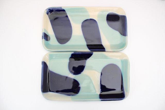 長角皿 幅広 海 【B-2】 陶器 土工房 陶糸 やちむん 画像6