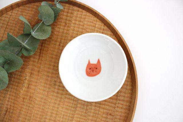 九谷焼 ハレクタニ ネコ豆皿 赤 磁器