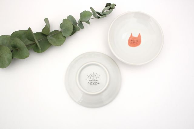 九谷焼 ハレクタニ ネコ豆皿 赤 磁器 画像3