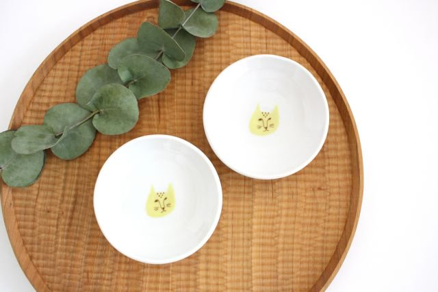 九谷焼 ハレクタニ ネコ豆皿 黄 磁器 画像6