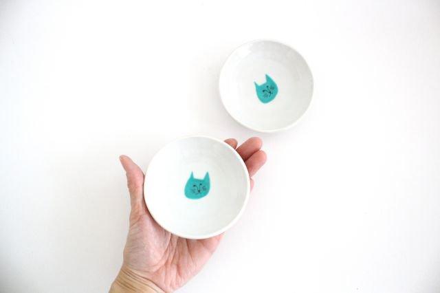 九谷焼 ハレクタニ ネコ豆皿 緑 磁器
