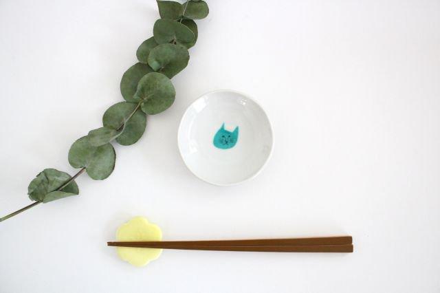 九谷焼 ハレクタニ ネコ豆皿 緑 磁器 画像6