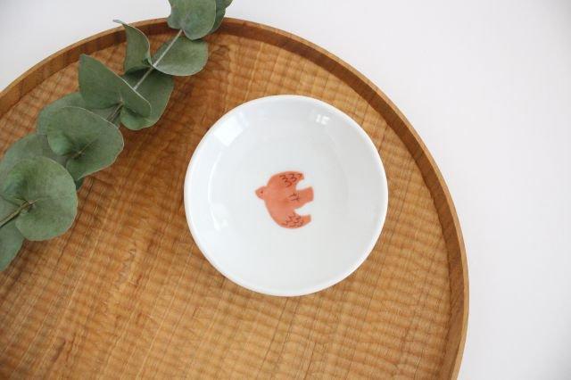 九谷焼 ハレクタニ トリ豆皿 赤 磁器