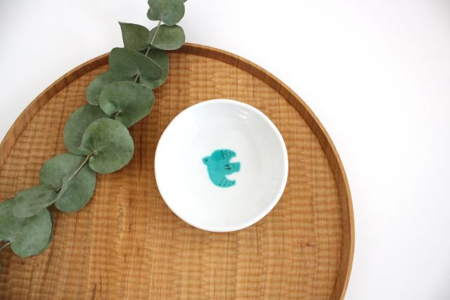 九谷焼 ハレクタニ トリ豆皿 緑 磁器 画像5
