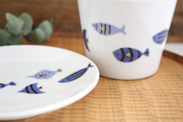 九谷焼 ハレクタニ 青い魚 カップ&ソーサー 磁器 画像3
