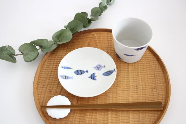 九谷焼 ハレクタニ 青い魚 カップ&ソーサー 磁器 画像5