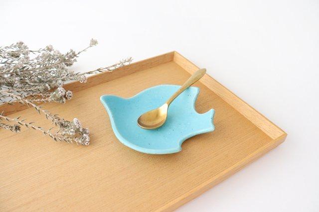 コトリ小皿 トルコブルー 陶器 長浜由起子