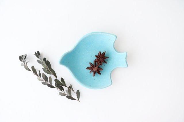 コトリ小皿 トルコブルー 陶器 長浜由起子 画像3